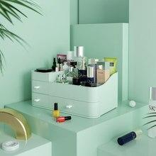 De gran capacidad cajón organizador de baño Caja de almacenaje para maquillaje de las mujeres de cuidado de la piel tocador labial cosméticos caso de la belleza