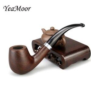 New Metal Ring Smoking Tobacco Pipe 9mm Filter Ebony Wood Pipe Traditional Bent Smoking Pipe Smoke Accessory 10 tools free