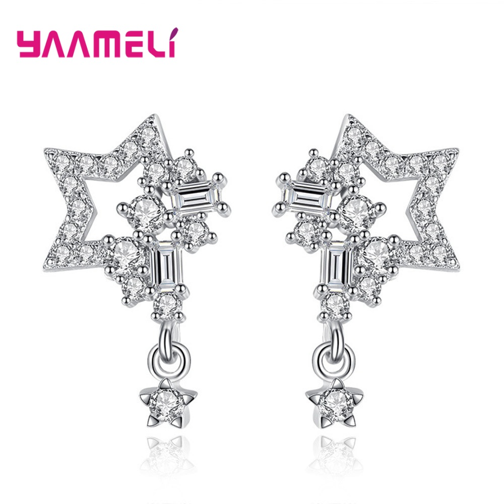 Cool Full Rhinestone Sparkling Stars Stud Earrings for Woman Girl Gift Original 925 Sterling Silver Cubic Zircon Mirco Inlay