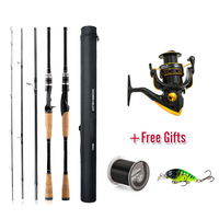 Hot 4 Section Spinning Fishing Rod Travel Ultra Light Spinning Lure M Fish Rod 1.8m 2.1m 2.4m 2.7m Carbon Rod+Reel+Gifts Sets