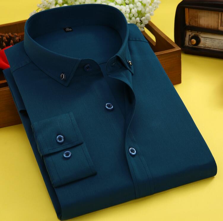 Summer New Long-sleeved Shirt Men's Solid Color Business Shirt White Green Men's Cotton Shirt KNT33-01-32