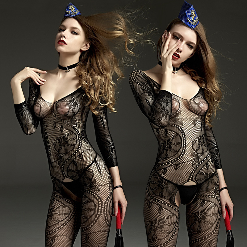 Sexy Fishnet Bodystocking Women Erotic Open Crotch Lingerie Porno Babydoll Crotchless Body Suit Underwear Costumes Latex Catsuit