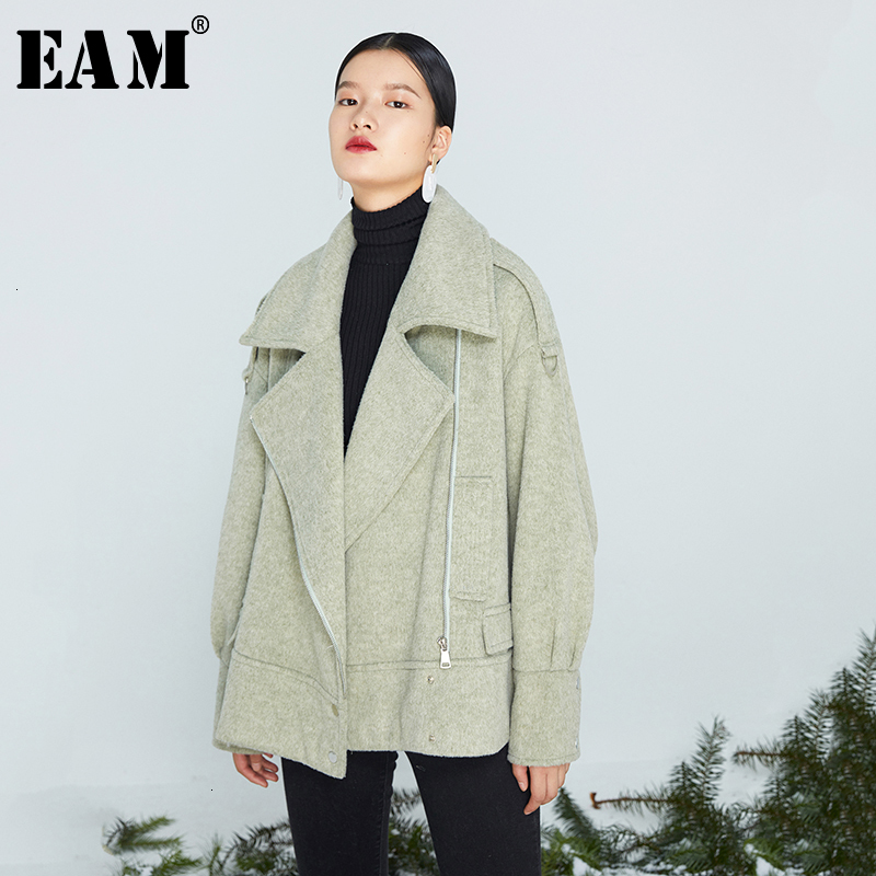 [EAM] Loose Fit Geen Big Size Oversized Brief Woolen Coat Parkas New Long Sleeve Women Fashion Tide Spring Autumn 2020 1K648