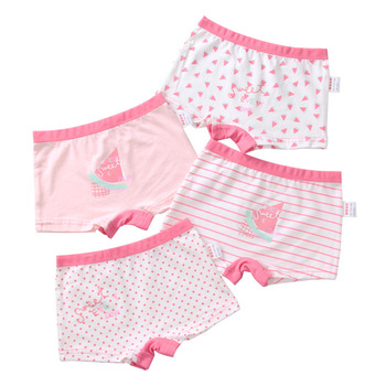 3-12 yrs Children Girls Cotton Underwear Panty Boxer Baby Kids Lovely Cute Underpants 4pcs/lot - discount item  5% OFF Children's Clothing