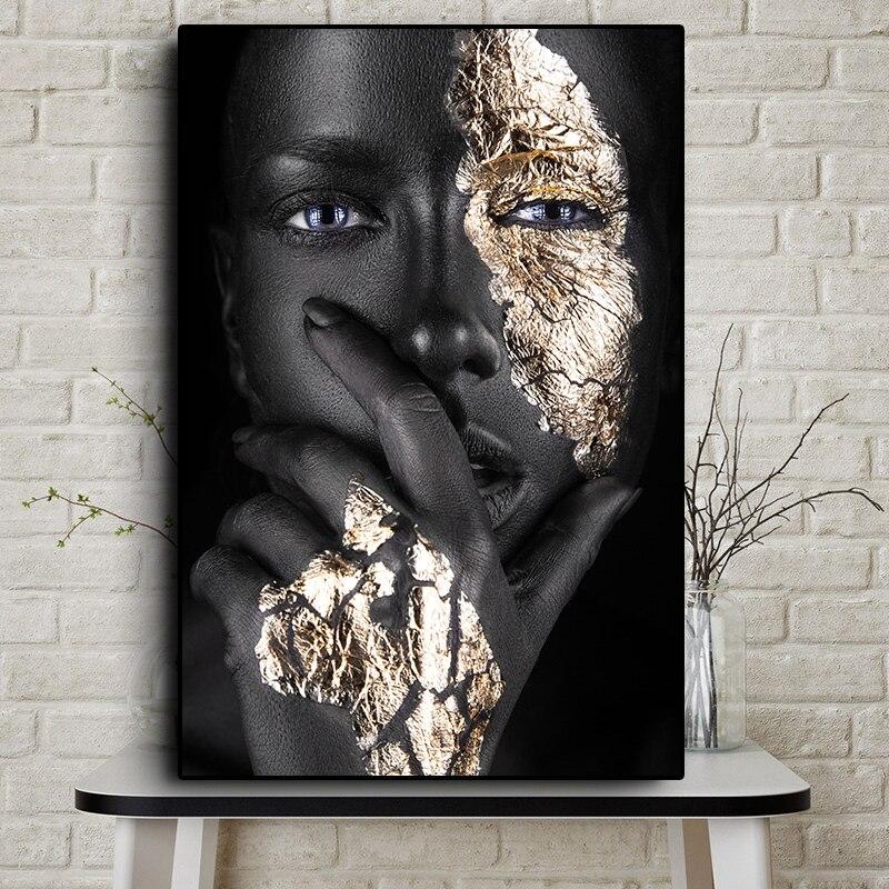 Danjiao Afrikanische Schwarz-Gold-Frau Leinwand Malerei Portr/ät Poster Und Drucke Skandinavische Wandkunst Bilder F/ür Wohnzimmer Wohnzimmer 60x90cm