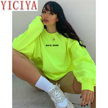 цена на YICIYA Casual Oversized Hoodie Neon Green Letter Print Hip Alphabet print top Hop Streetwear Long Sweatshirts Women Retrieve Top