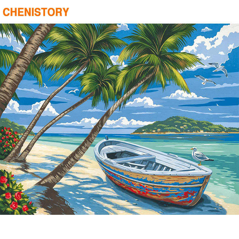 CHENISTORY إطار قارب شاطئ دهان داي بأرقام حديث جدار صورة فنية بأرقام أكريليك قماش بواسطة أرقام للمنازل الديكورات