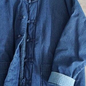 Image 5 - Johnature kış eğlence moda standı yaka plaka toka cepler kalın kot ceket 2020 yeni tüm maç rahat kadın mont