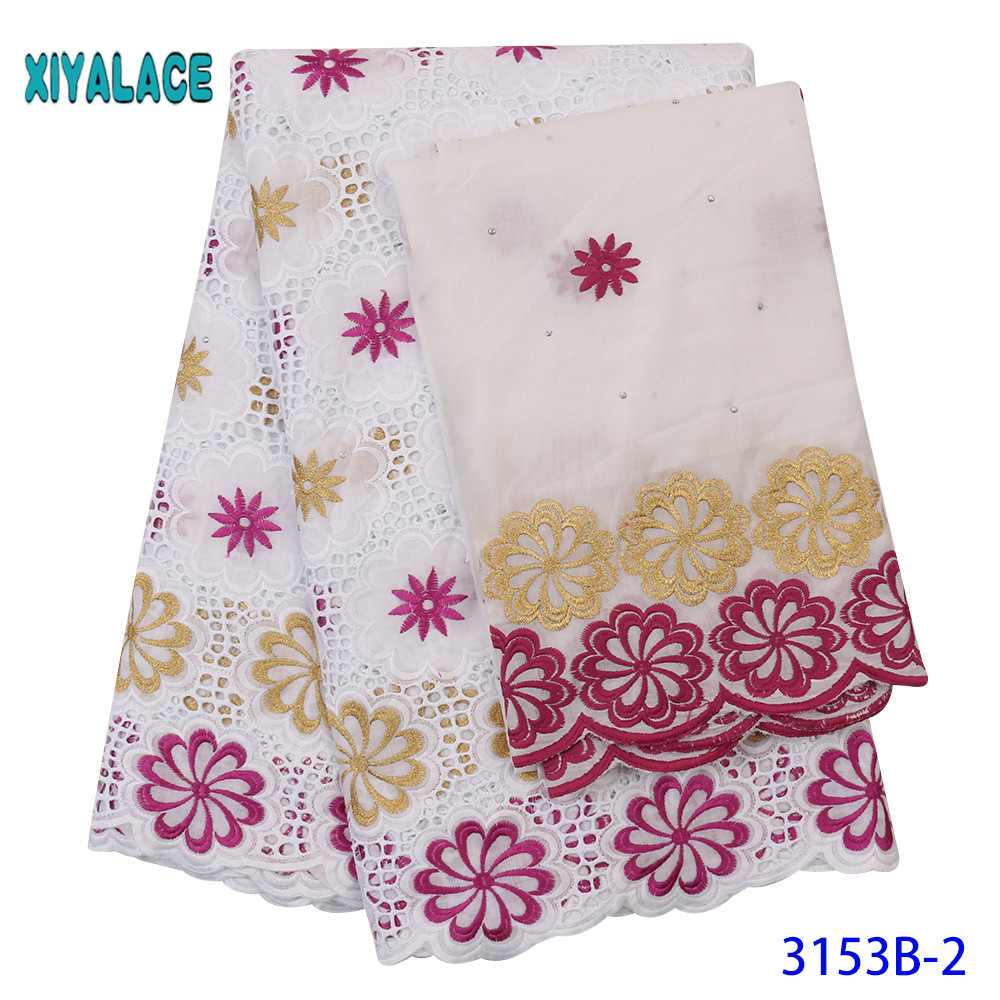 African Swiss Lace Fabric 2019 High Quality Lace Cotton Laces Fabrics Dry Lace With Stones Tulle Lace 2 Yards KS3153B
