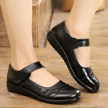 Flat shoes women genuine leather flats casual female size 35-42 solid black flat woman autumn 2019