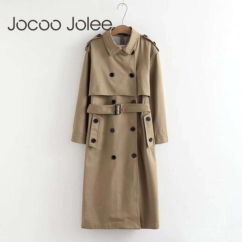 Jocoo Jolee Women Casual Solid Color Double Breasted Outwear Fashion Sashes Office Coat Chic Epaulet Design Long Trench Coat