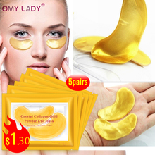 OMY LADY 10pcs=5pack Gold Masks Crystal Collagen Eye Mask Anti-Wrinkle Eye Patches For The Eye Face Mask Remove Black Eye Care стоимость
