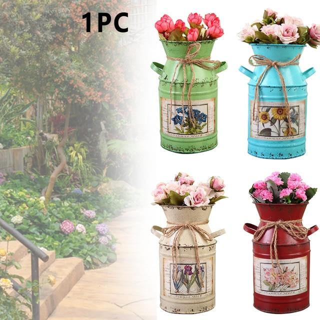 Garden Plants Flower Vase Iron Bucket Home Decoration Pots Arrangement Craft Rural Style Shabby Gift Wedding Vintage Table 2