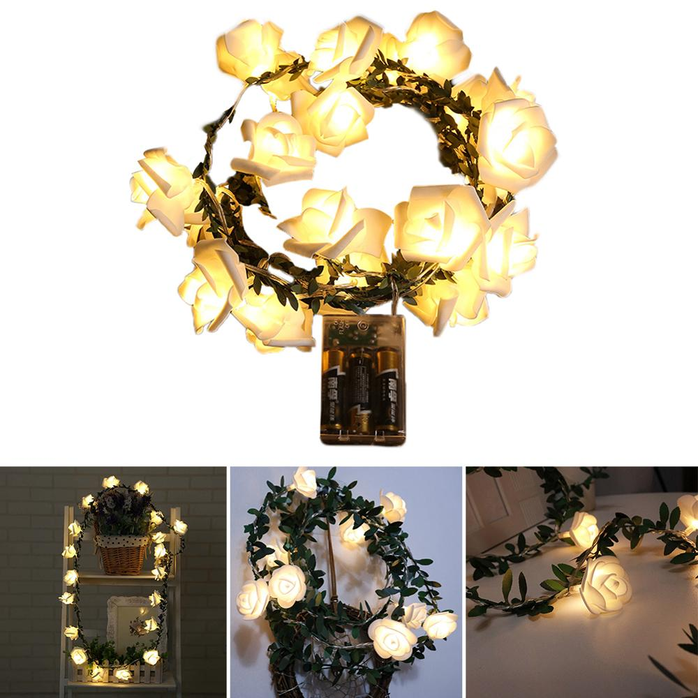 10/20/40 LEDs Rose Flower Lamp Fairy String Lights Powered By Battery For Wedding Valentine's Day Event Party Garden Decor