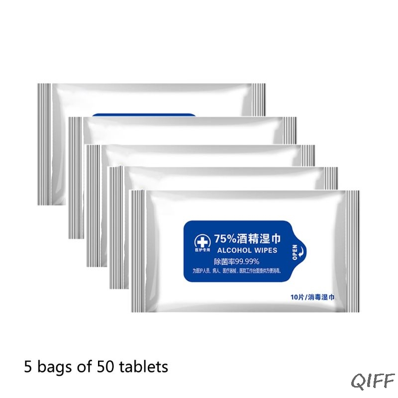 50 Sheets Portable 75% Alcohol Swabs Pads Disposable Hand Cleaning Disinfection Alcohol Wet Wipes Skin Cleaning Care First Aid