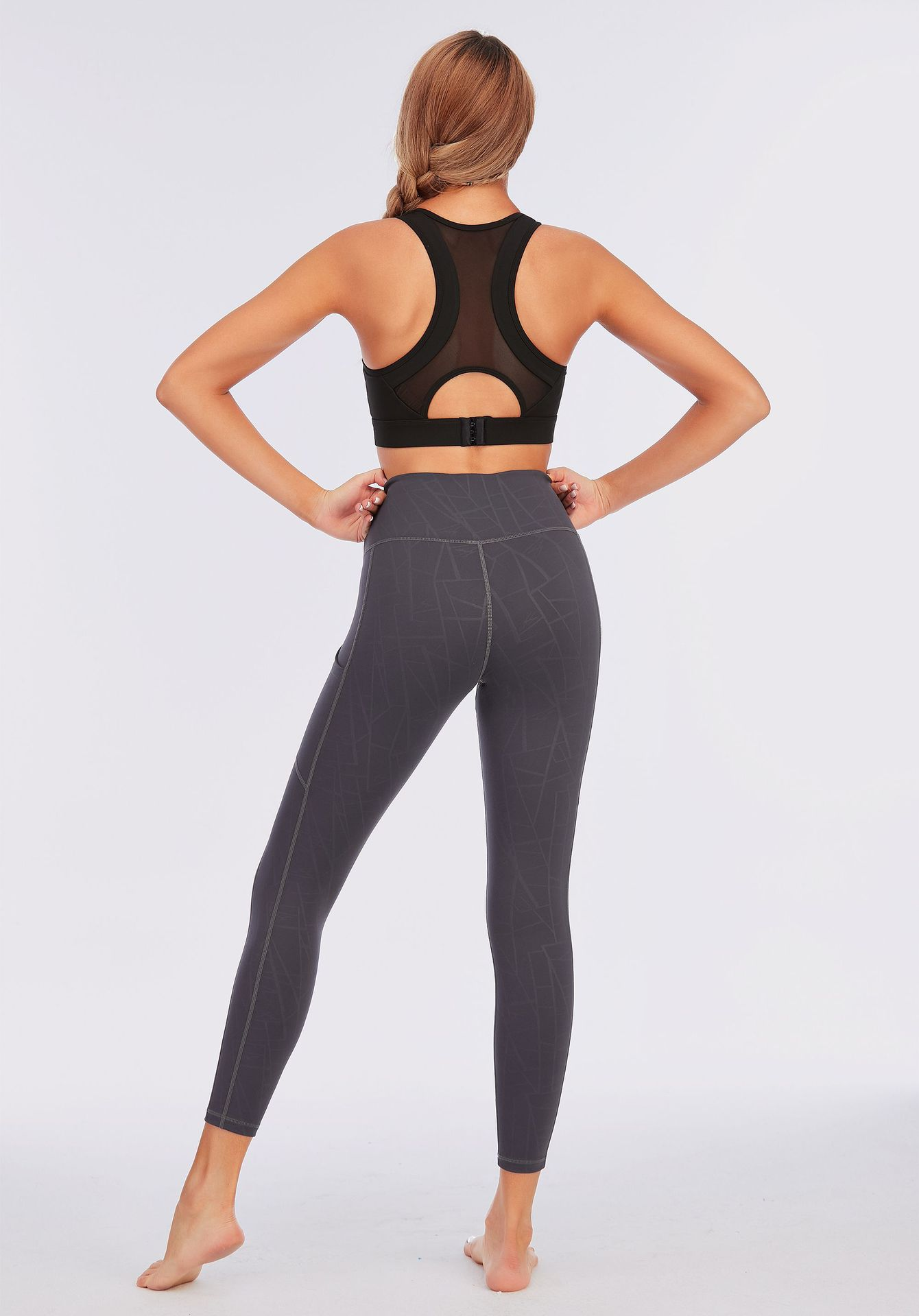 Women Yoga Pants Embossing Pocket Sports Leggings Quick Dry Stretchy Gym Tights Women Running Trousers Workout Fitness Clothes Sport9s
