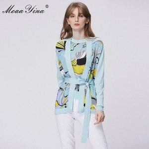 Image 3 - MoaaYina แฟชั่นฤดูใบไม้ผลิแขนยาวถักเสื้อผู้หญิง Elegant พิมพ์ลูกไม้ขึ้น Cardigans ผ้าไหม Patchwork ขนสัตว์เสื้อ