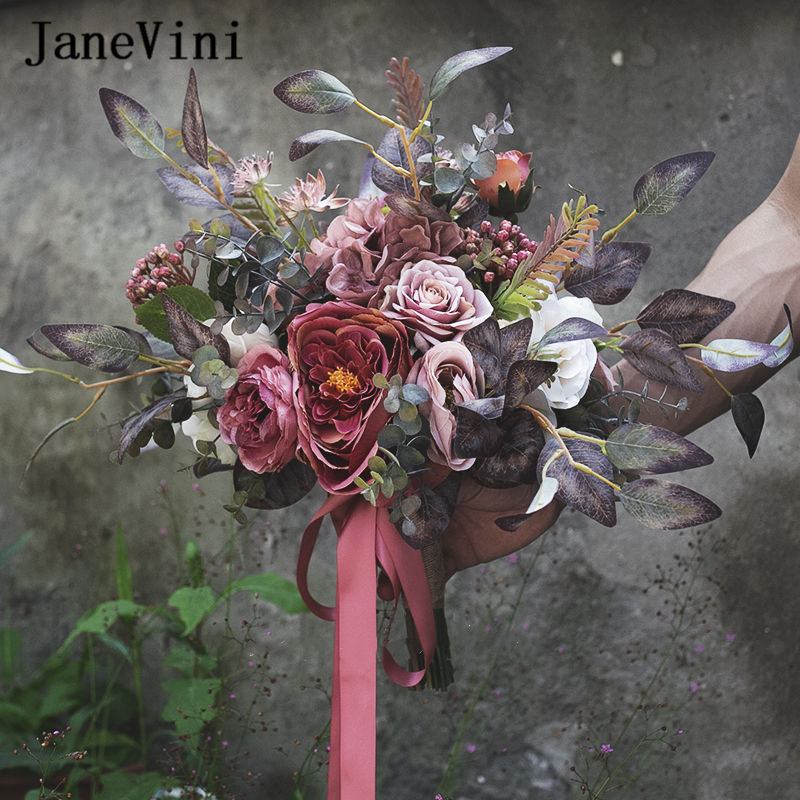JaneVini Vintage Purple Bridal Bouquets Handmade Silk Rose Peony Flower Eucalyptus Leaf Autumn Wedding Bouquet Accessories 2020
