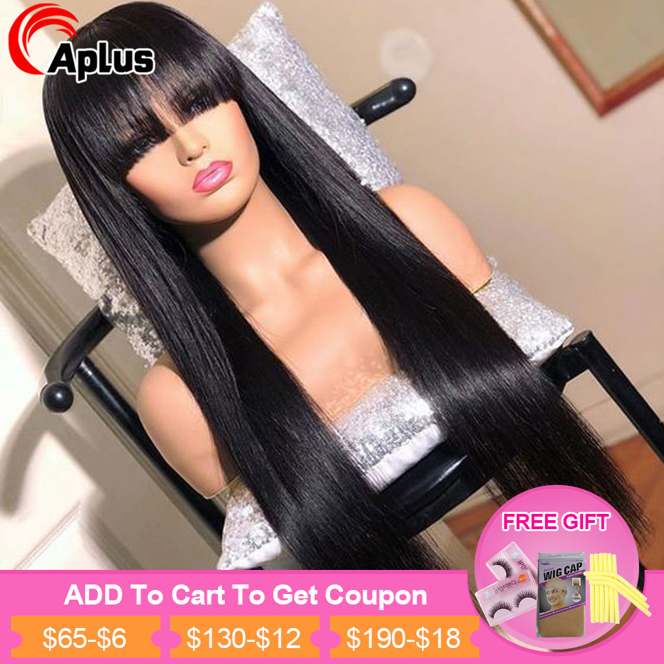 Straight Human Hair Wig With Bang 30inch Long Wig 13x4 13x6 360 Lace Front Human Hair Wigs Malaysian Remy Hair 150% 180% Density