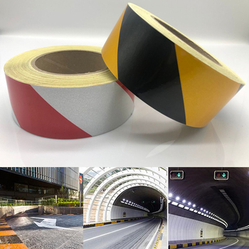 width 50mm Safety Mark Reflective Tape Stickers Self Adhesive Film Warning
