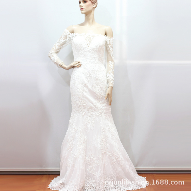 2020 Real Full Vestido Cocktail New Wedding Dress, A Word Shoulder Long-sleeved Dew Dresses French Contracted Sen Is The Tail