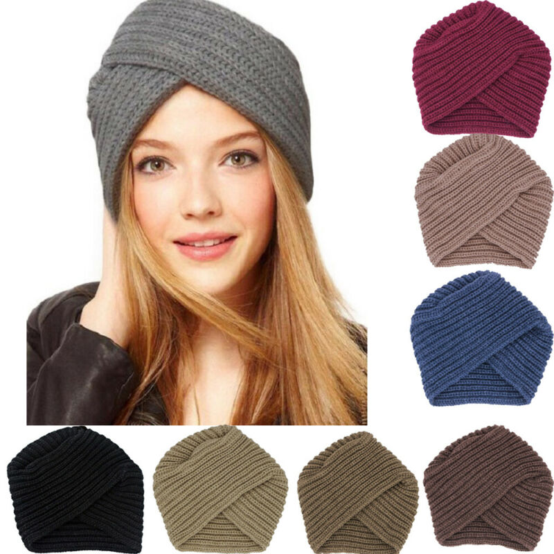 New Fashion Women Ladies Boho Style Soft Wool Crochet Knitted Cap Winter Warm Casual Muslim Crossed Turban Hat Black Pink Coffee