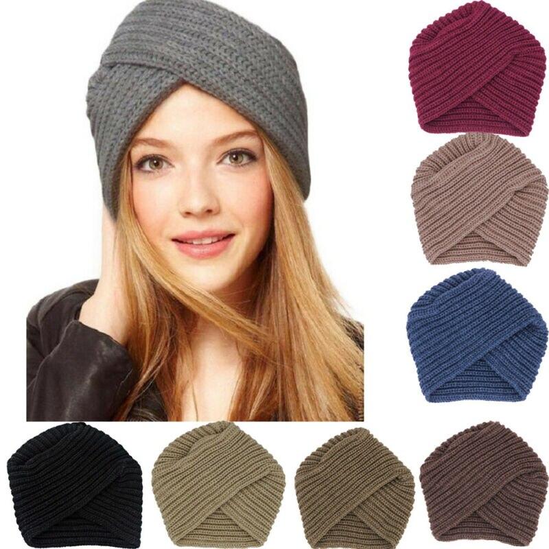 New Fashion Women Ladies Boho Style Soft Wool Crochet Knitted Cap Winter Warm Casual Muslim Crossed Turban Hat Black Pink Coffee