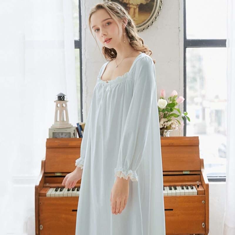 Roseheart Women Cotton Homewear White Blue Sexy Cotton Sleepwear Nightdress Nightwear  Luxury Nightgown Female Gown