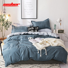 Sisher Cartoon Blue Plaid Print Bedding Set King Size Duvet Cover Sets Single Double Queen Bed Linen Sheet Bedclothes Beddingset check plaid print duvet cover set