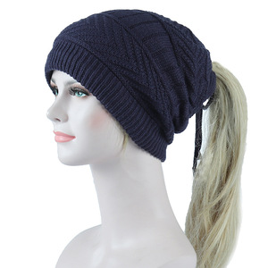 Image 2 - 2019 Ponytail Beanie Winter Skullies Beanies Caps ladies fashion multi function warm hat For Women outdoor Female Knit Hat  Z104