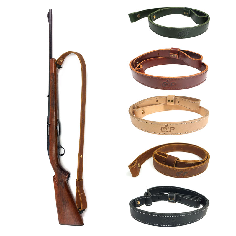 Hunting Rifle Shotgun Sling Shoulder Belt Leather Cow Hide Adjustable Bindings Shooting Tactical Strap Gun Accessories 105cm