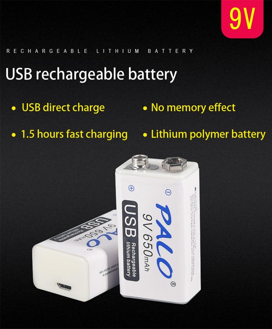 9V 6F22 650mAh li-ion akku Micro USB Batterien 9v lithium-für Multimeter Mikrofon Spielzeug Fernbedienung KTV verwendung