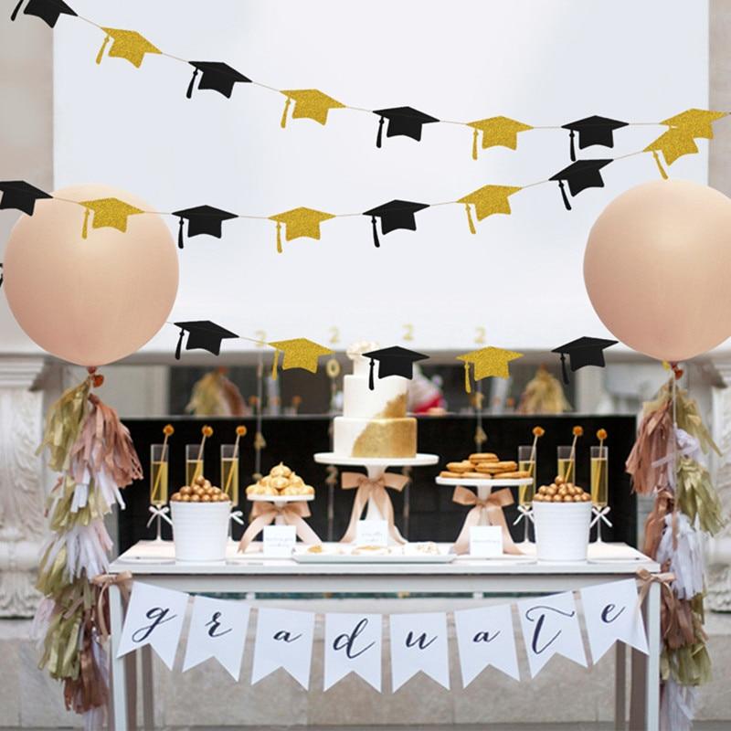 4 м, черные, золотые, блестящие, выпускные, Панама, баннер, украшение, флаг для школы, 2020, празднование выпусквечерние вечера