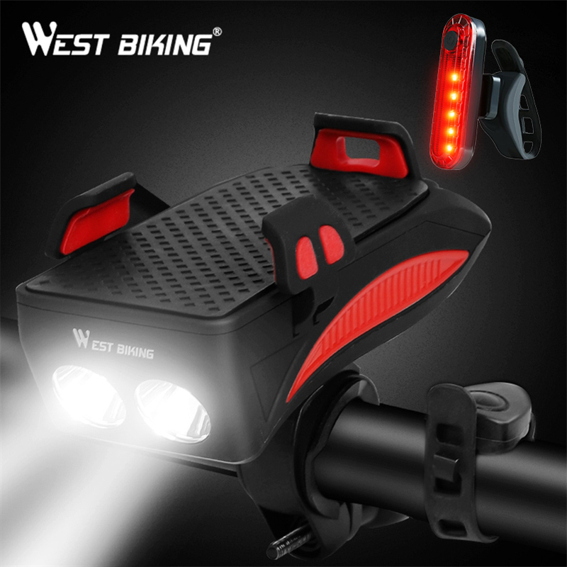 WEST BIKING 400 lumen Bike Light With Phone Holder Bicycle Highlight 2000/4000mAh Power Bank Cycling Flashlight Front Torch