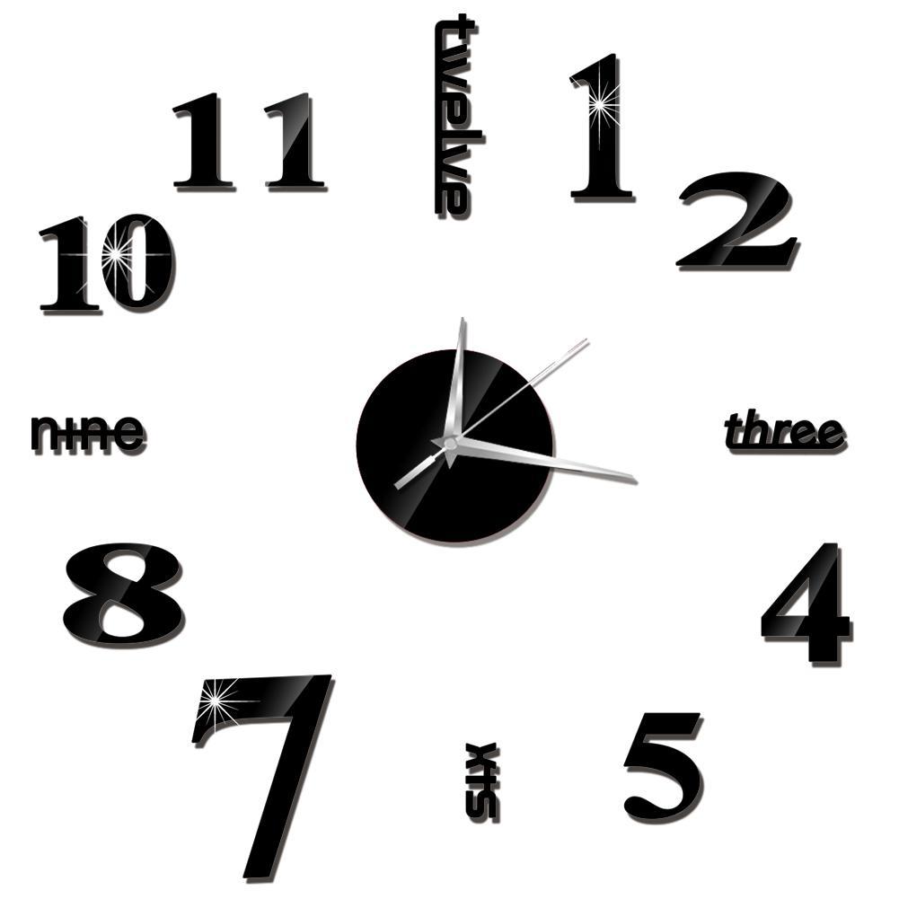 Irregular Digital Number Wall Clock DIY 3D Clock Dark Acrylic Hanging Clock Acrylic Brief Quiet DIY Wall Clock Modern For Home