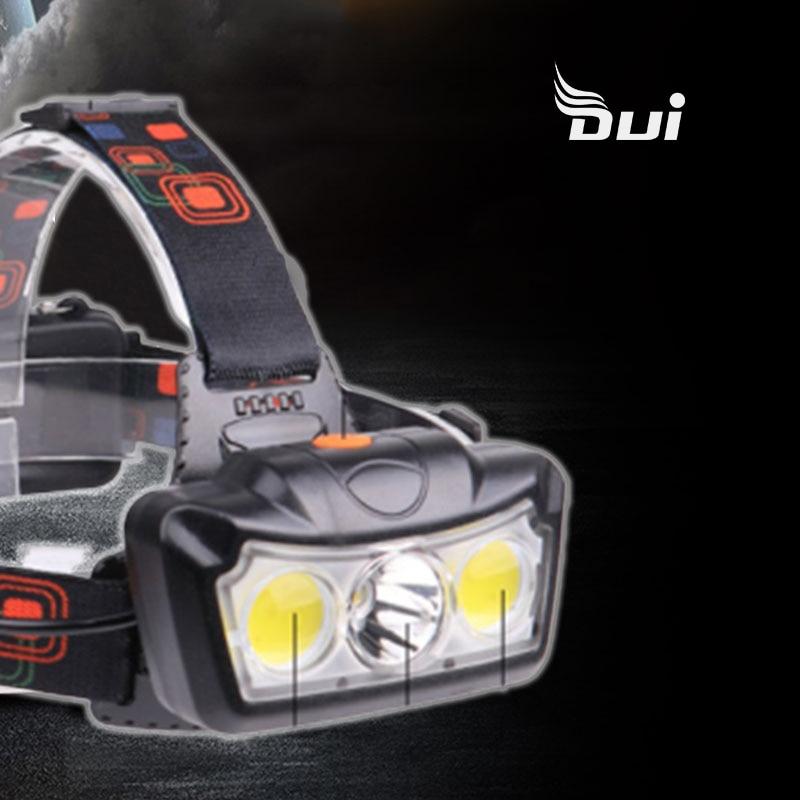 DUI Neue XML T6 + COB LED 3 leistungsstarke scheinwerfer DC wiederaufladbare 2 abschnitt 18650 batterie aluminium legierung angeln lampe