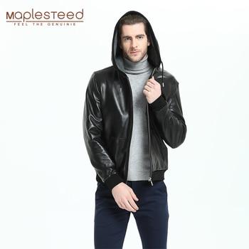 Chaqueta de cuero para hombre con capucha 100% piel de oveja Natural suave Slim Fit moda chaquetas de cuero genuino abrigo de cuero para niño otoño M300