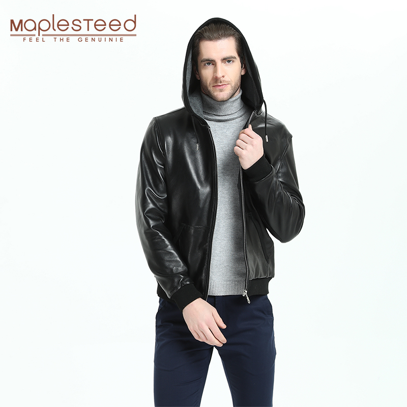 Men Leather Jacket With Hood 100% Natural Sheepskin Soft Slim Fit Fashion Genuine Leather Jackets Boy Leather Coat Autumn M300