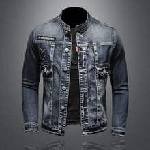 2021 Spring and Autumn New High Quality Men's Solid Stand Collar Single Breasted Slim Vintage Long-sleeved Men's Denim Jacket