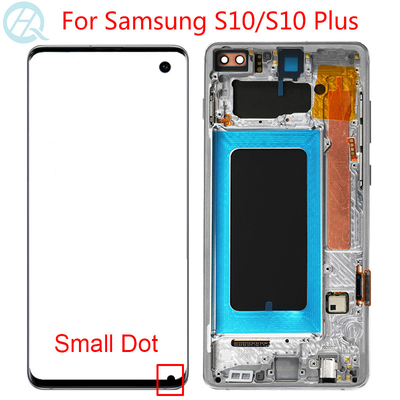 Original Small Dot LCD For Samsung Galaxy S10 Plus LCD With Frame SM-G975F S10 Screen G973F Display Touch Screen Assembly image