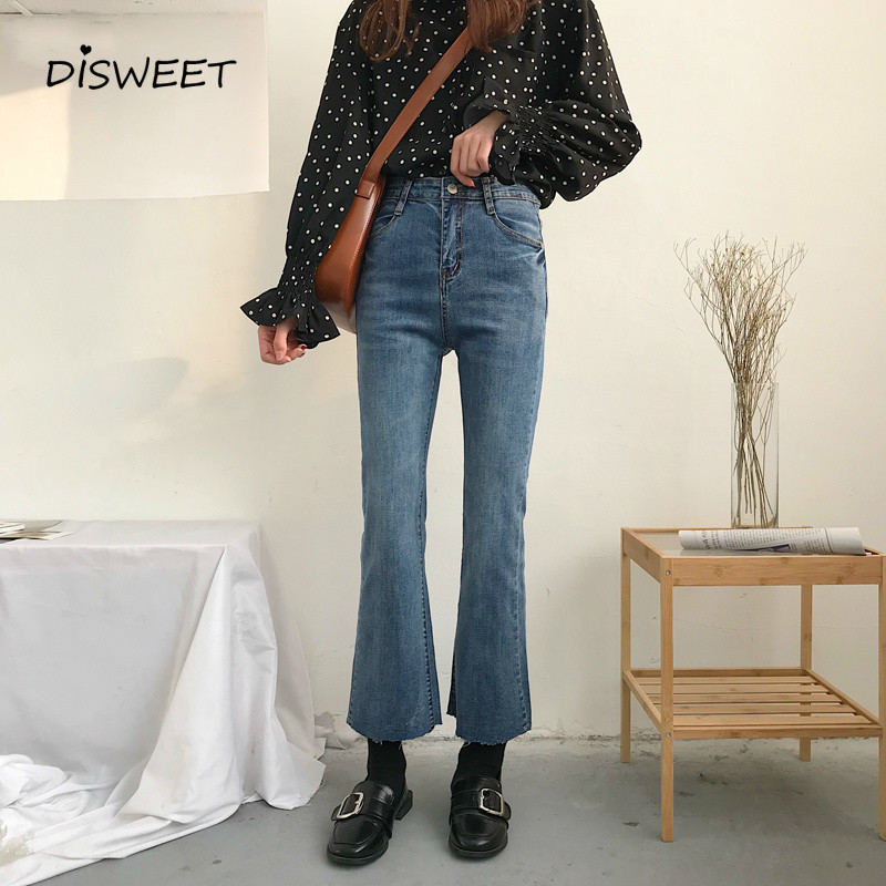 Disweet   Jeans   Women 2019 Vintage High Waist Ankle-length Simple Womens Flare   Jean   Korean Pants Elastic Skinny   Jeans   Woman