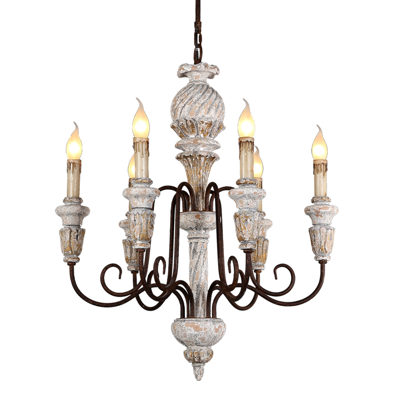 Vintage rustic chandelier antique white wooden lighting french elegant drop chandeliers in babay/dining room bedroom living room