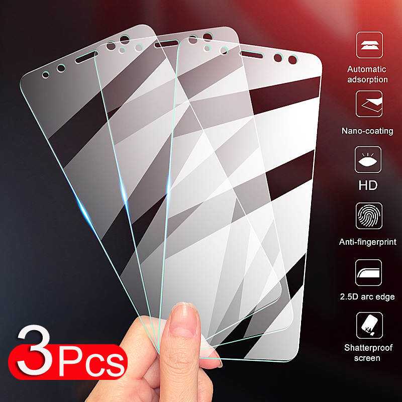 3Pcs Full Cover Protective Glass On For Samsung Galaxy A6 A8 J4 J6 Plus A7 A9 J2 J7 J8 2018 Tempered Glass Screen Protector Film