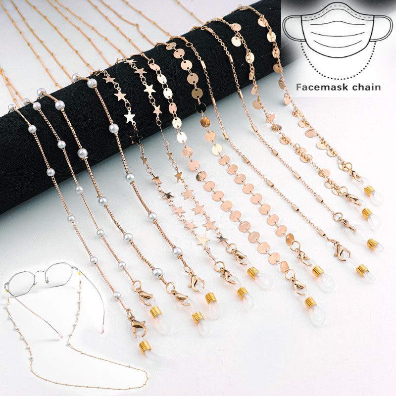 Kid Women Glass Chain Face Mask Chain Necklace Strap Non-slip Eyeglass Holder Cord Neck Sunglass Strap Chain for Unisex Jewelry