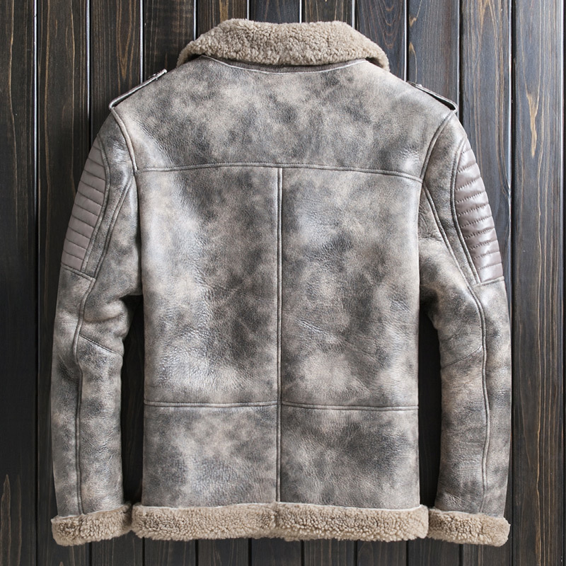 Mens Genuine Leather Jacket Winter Real Fur Sheepskin Coat Motorcycle Shearling Jacket Men Veste Cuir Homme 2020 Wp221A