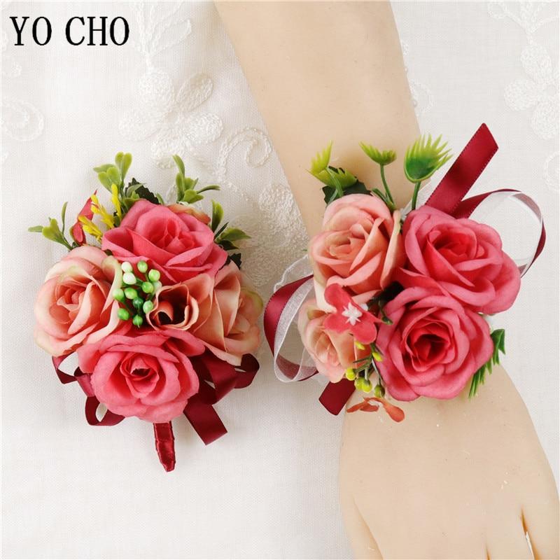 YO CHO Silk Roses Wedding Corsages Men Suit Boutonniere Groomsmen Corsages And Boutonnieres Wedding Sister Wrist Bracelet Flower