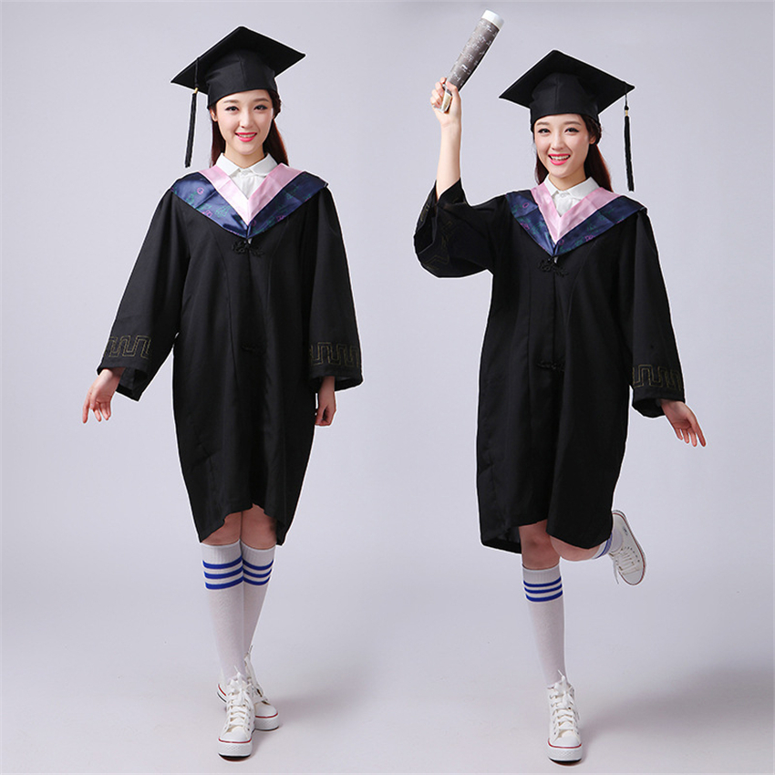 Womnen Men University Graduation Gown Student High School Uniforms Team Wear Academic Dress For Adult Bachelor Robes+Hat Set