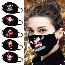 Máscara de impressão preta adulta do natal máscara facial lavável mascarilla reutilização respirável máscara de poliéster mascherina mascherina mascherina