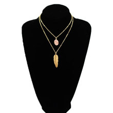New Fashion Metal Leaf Stone Pendant Necklace Women Double Layered Clavicle Choker Chain Jewelry