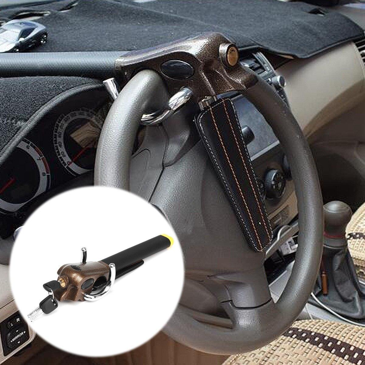 Car Steering Wheel Lock Universal Security Car Anti Theft Safety Alarm Lock Retractable Anti-theft Protection T-Lock Airbag Lock